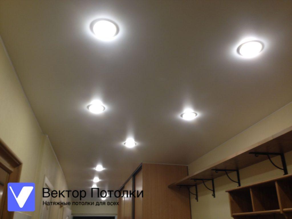 матовый натяжной потолок со светильниками в прихожей