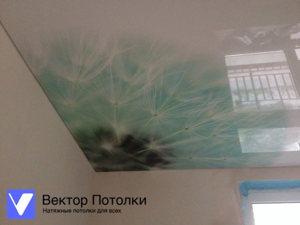 натяжной потолок с фотопечатью на глянцевом полотне в комнате