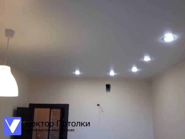 матовый натяжной потолок со светильниками в кухне