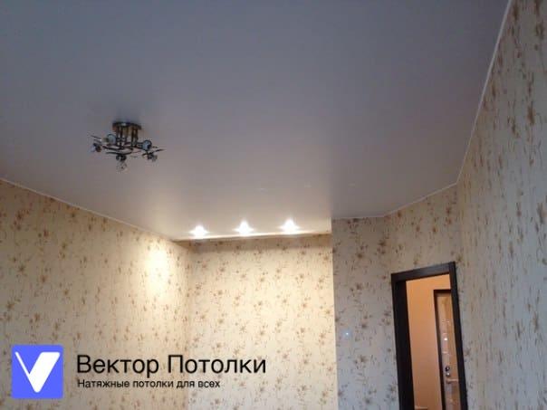 матовый натяжной потолок со светильниками в комнате