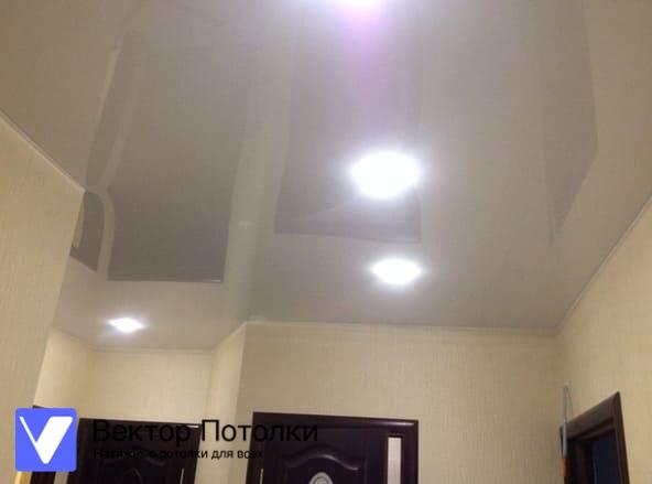 белый натяжной потолок со светильниками в прихожей