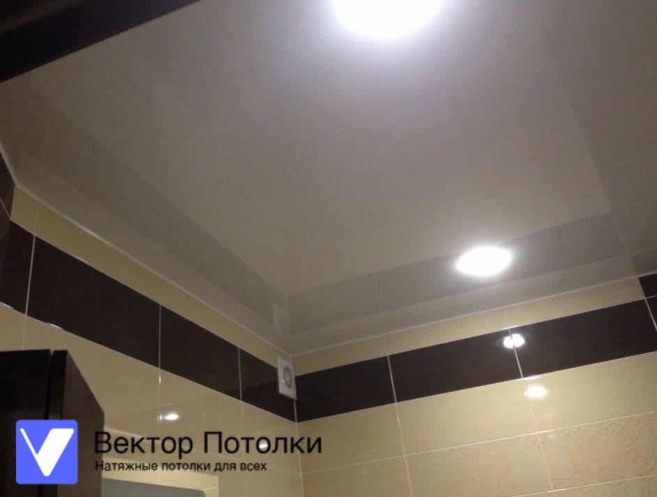 белый натяжной потолок со светильниками в санузле