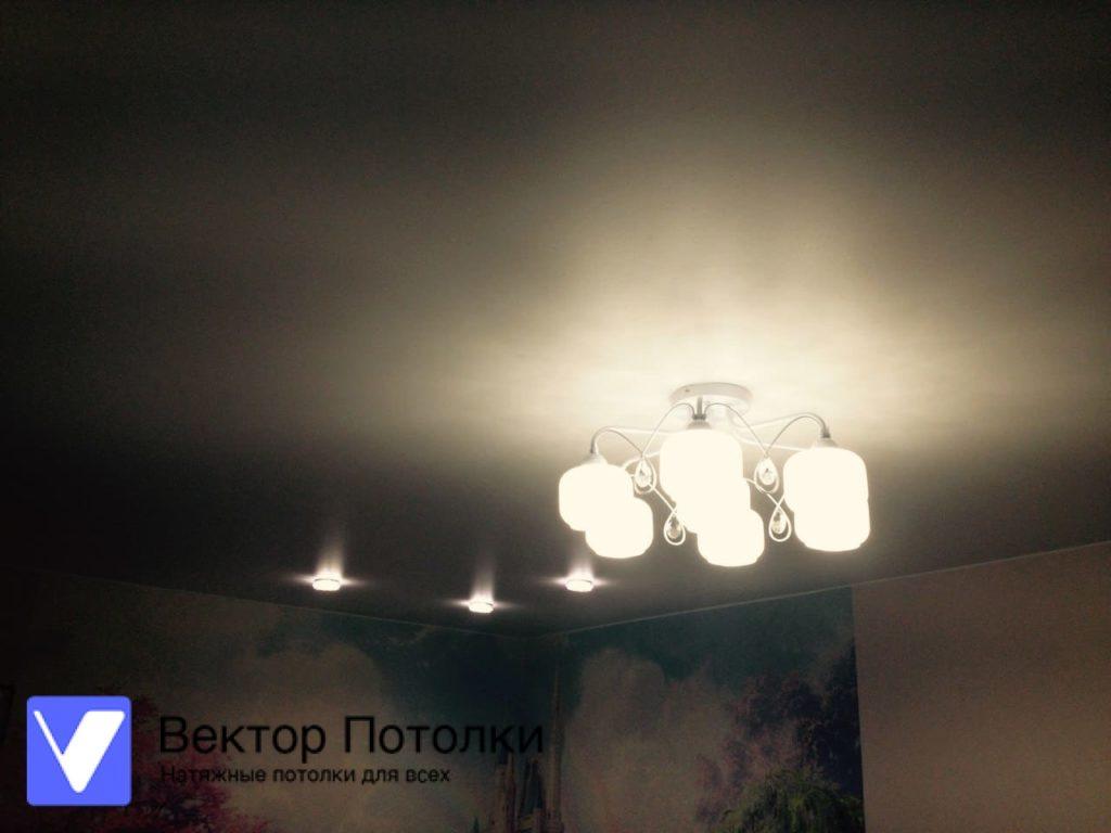 белый натяжной потолок со светильниками и люстрой