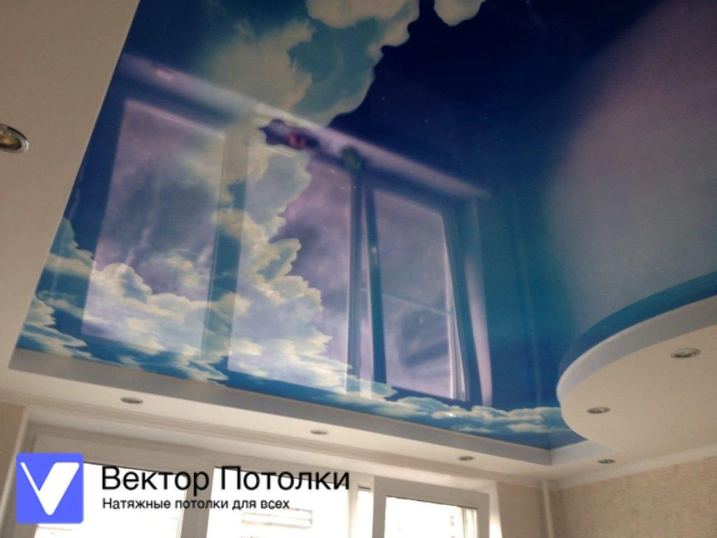 фотопечать небо на натяжном потолке