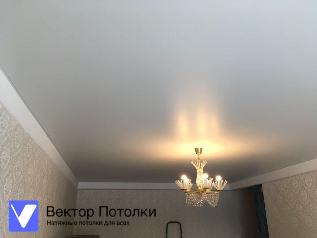 матовый натяжной потолок в зале с люстрой