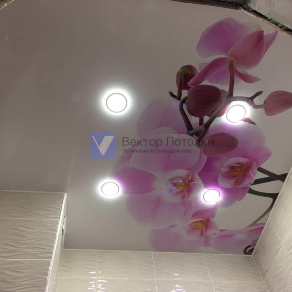 фотопечать на лаковом потолке цветы