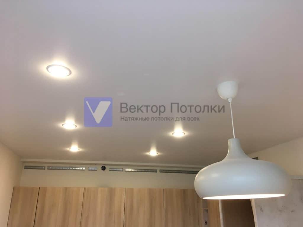 белый натяжной потолок со светильниками на кухне