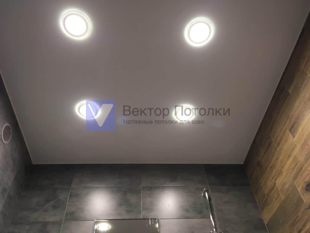 матовый натяжной потолок со светильниками в ванной