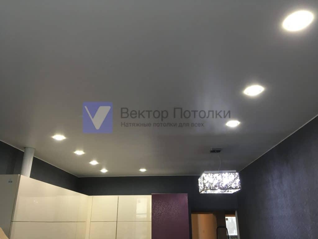 матовый натяжной потолок на кухне с люстрой и светильниками