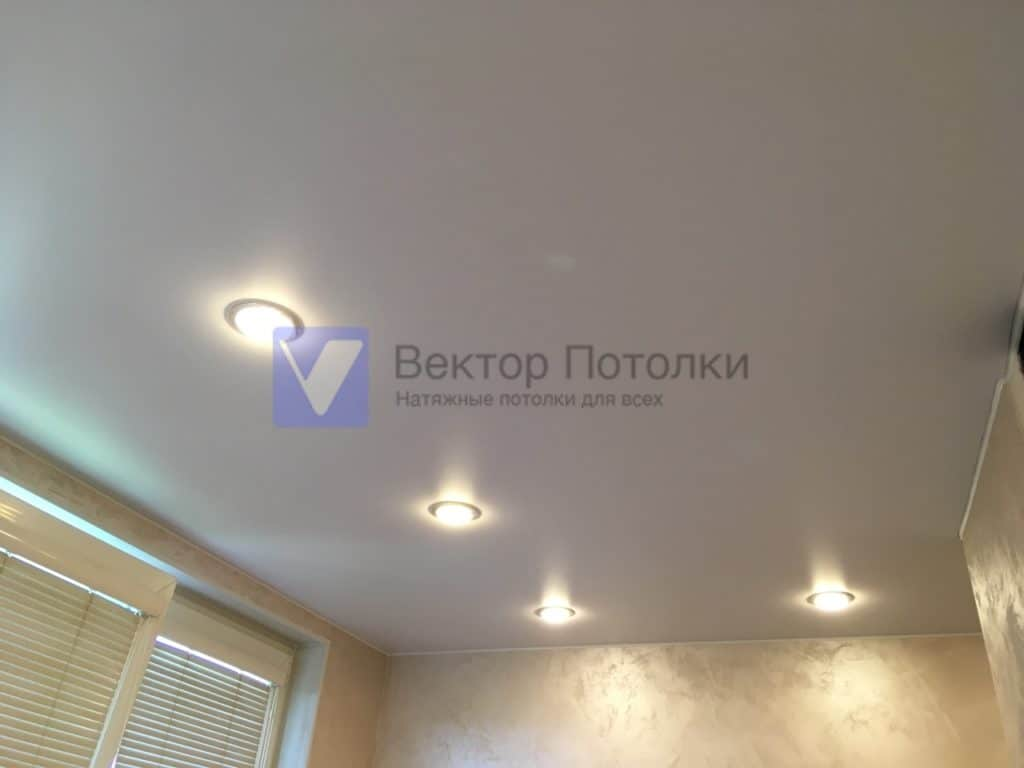 белый матовый натяжной потолок со светильниками на кухне