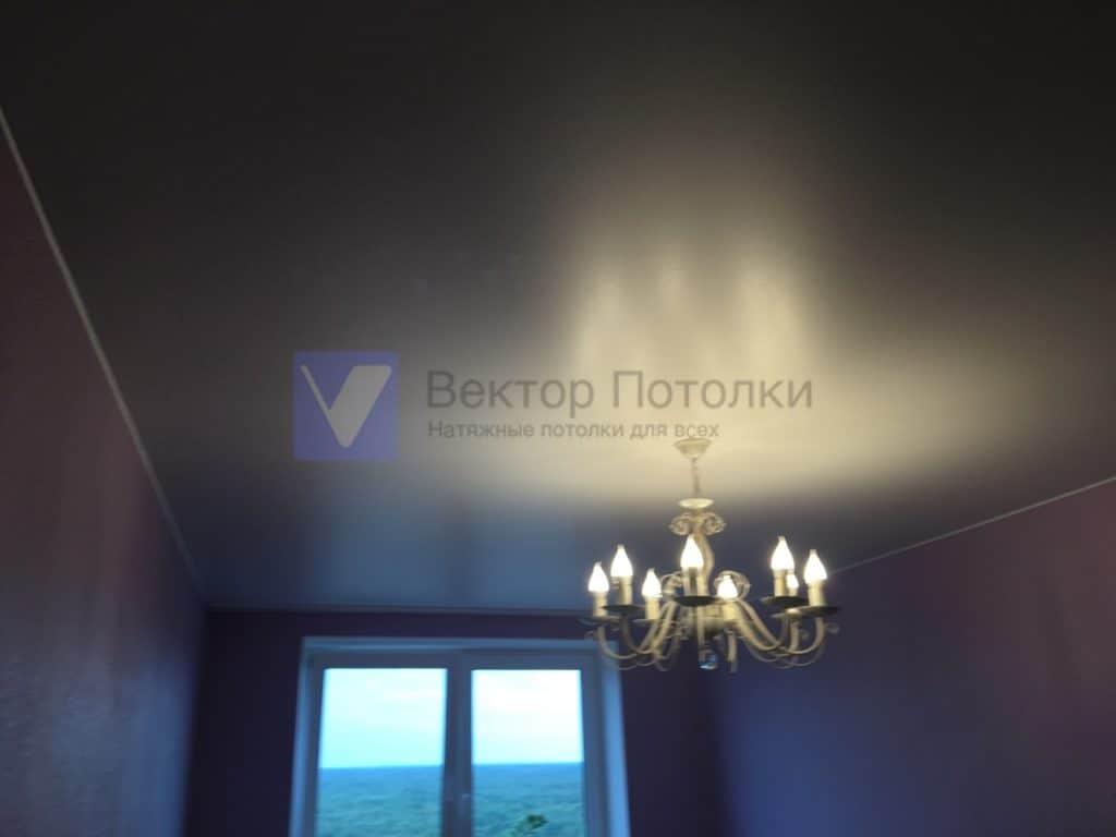 матовый натяжной потолок с люстрой и светильниками в зале