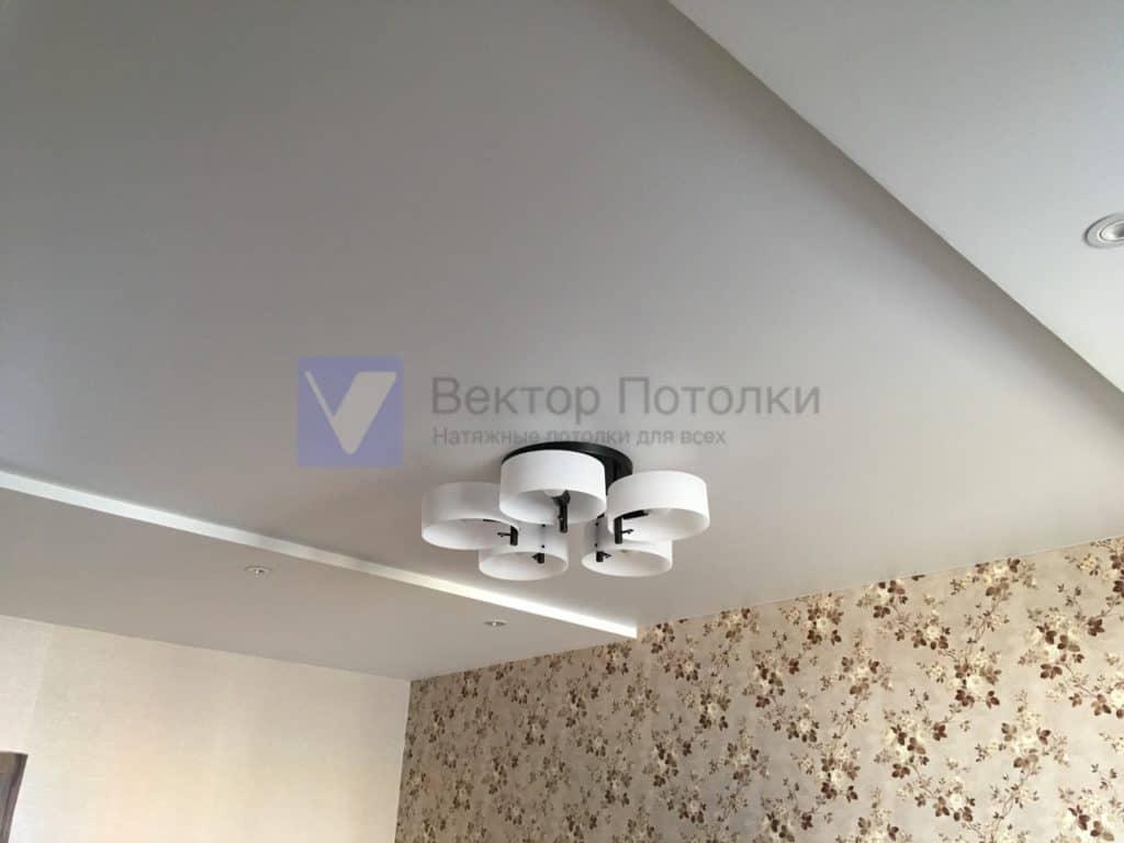 матовый натяжной потолок с люстрой в гостиной
