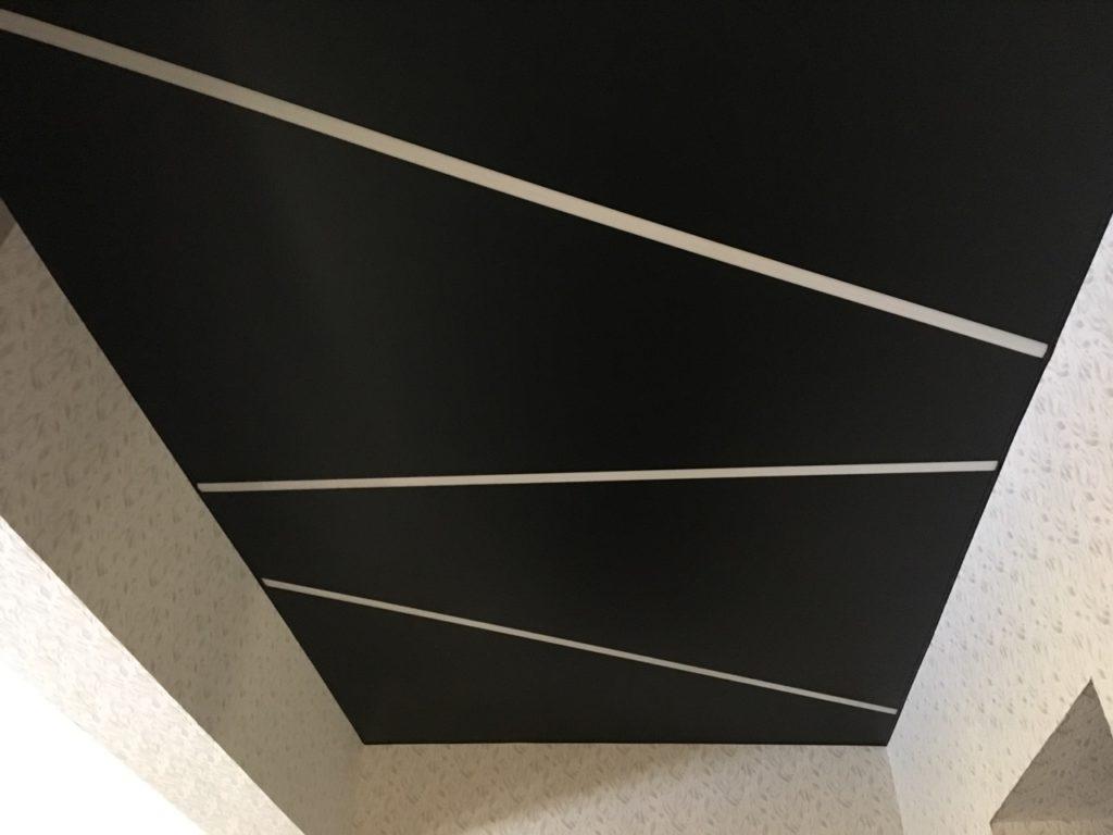 черный матовый натяжной потолок со световыми линиями